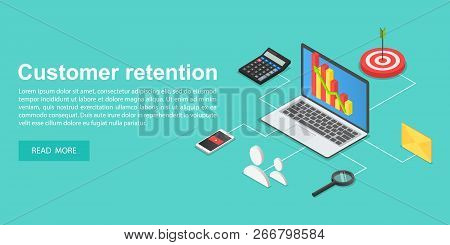 Client Attraction Concept Banner. Isometric Illustration Of Client Attraction Concept Banner For Web