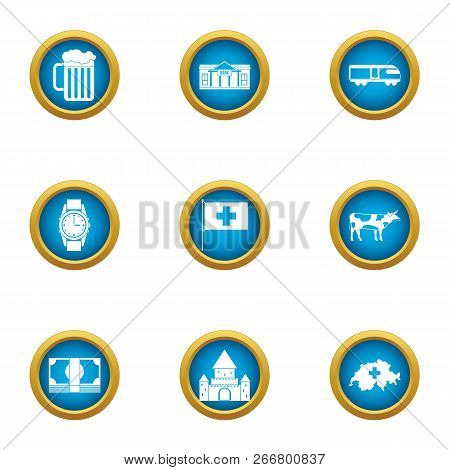 Country Of Europe Icons Set. Flat Set Of 9 Country Of Europe Icons For Web Isolated On White Backgro