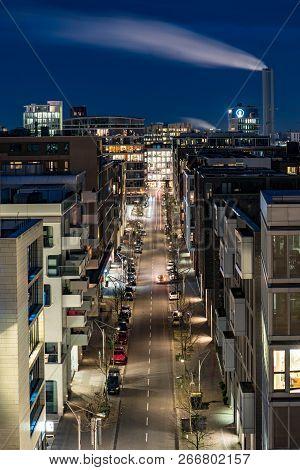Hamburg-germany-december 29, 2017: A Street In Hamburg Hafencity At Night From The Top