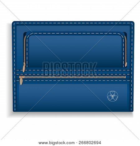 Blue Leather Folder Icon. Realistic Illustration Of Blue Leather Folder Icon For Web Design