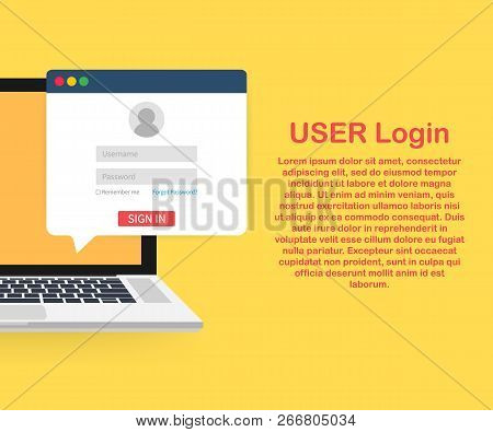 Sign In To Account, User Authorization, Login Authentication Page Concept. Laptop With Login And Pas