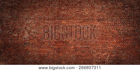 Large Old Red Brick Wall Background. Vintage Brickwall Texture. Panoramic Web Banner Or Wallpaper Wi