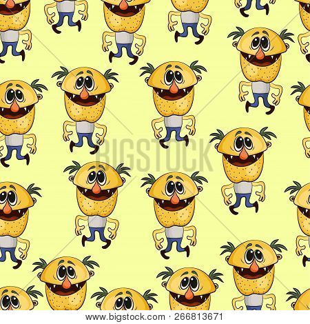 Seamless Background For Your Design With Funny Dancing Men Alcoholics, Tile Pattern With Cartoon Cha