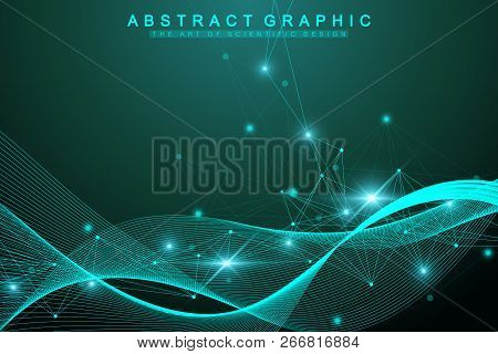 Geometric Graphic Background Molecule And Communication. Big Data Complex With Compounds. Artificial