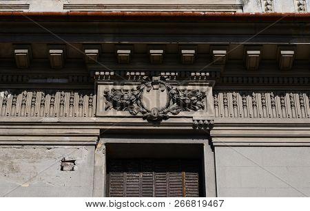 Drobeta Turnu Severin, Romania - 10.08.2018: Art Museum Landmark Facade Architecture Detail