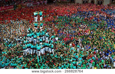 Tarragona, Spain. October 2018: Castells Performance In Human Tower Competition. A Castell Is A Huma