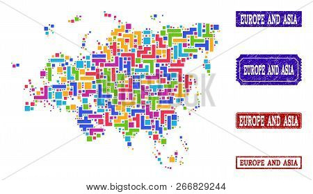 Mosaic Brick Style Map Of Europe And Asia And Unclean Rectangle Seals. Vector Map Of Europe And Asia