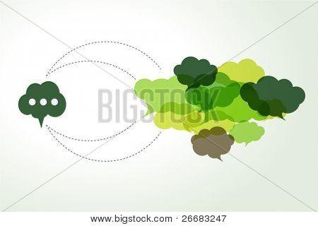 connected green cloud speech bubbles