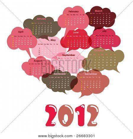 2012 calendar designed with clouds