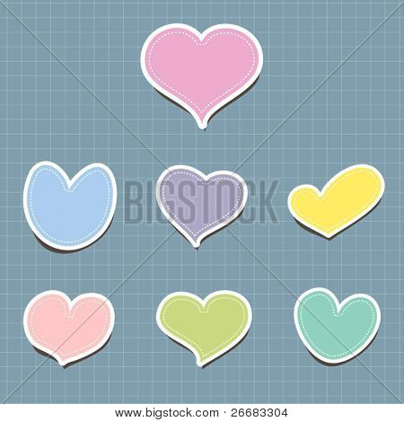 Vector set of vintage cute frames in heart shape