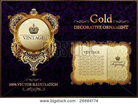 gold vitnage frame ornament vector illustration