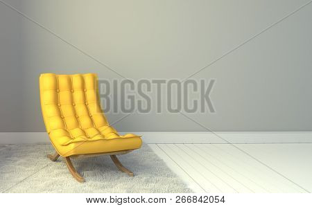 Yellow Leather Chair - Room Interior On White Wall Background. 3d Rendering