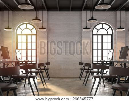 Loft Style Office Interior 3d Render,focus At The Wall,there Are White Brick Wall,polished Concrete