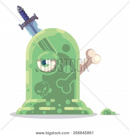 Fantasy Rpg Game Character Monsters And Heros Icons Illustration. Slime With Bones And Old Sword. En
