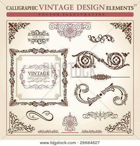 calligraphic elements vintage ornament set. Vector frame decor