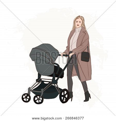 Mother With Baby Carriage Walking On The Street Hand Drawn Illustration.  Girl Pushing A Stroller Fa
