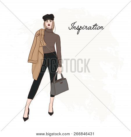 Girl In Trendy Cap, Coat, Pants And Sweater Sketch. Business Model Runaway Poster. Hand Drawn Girl I