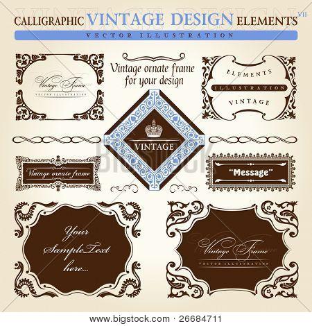 vintage frame ornament set. Vector element decor text