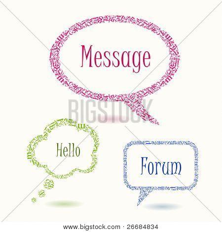 colorful bubbles speech letters. vector illustration