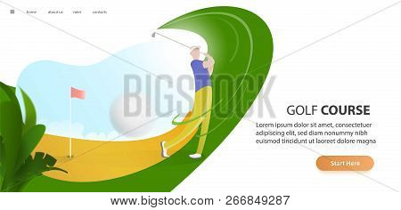 Golf Poster With A Male Golf Player Hitting Ball, Golf Car And Flag On The Golf Lawn With Text. Tour
