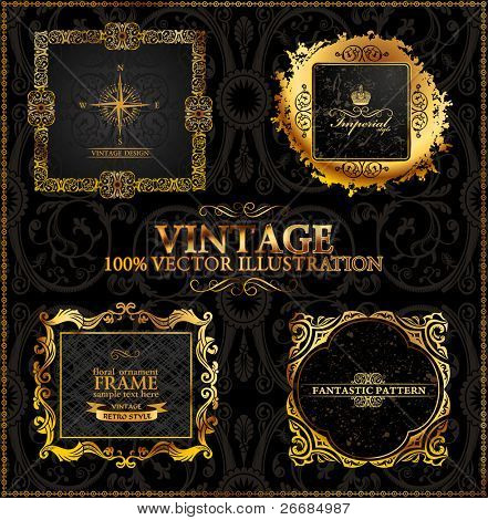Vector vintage set. Gold frames calligraphic