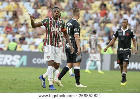 Rio, Brazil - November 03, 2018: Diga  Player In Match Between Fluminense And Vasco By The Brazilian