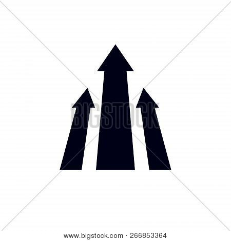 Vector Arrow Pointing Upwards. Company Increasing  Concept. Corporate Abstract Logo Isolated On  Whi