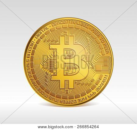 Bitcoin Symbol. Digital Currency Under The Supervision Of The Computer Network. One Bitcoin. Btc. Co