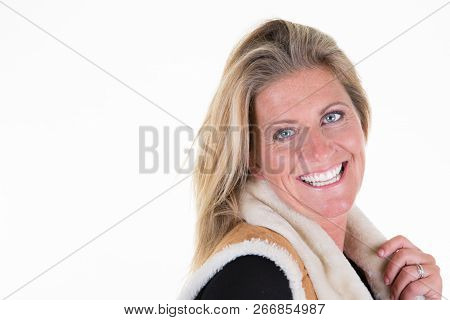 Beautiful Mature Woman Posing In Winter Clothes 40 Years Old