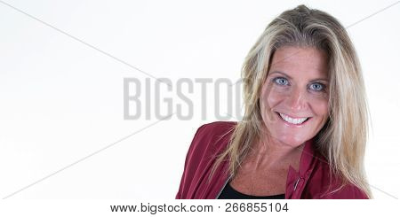 Beauty Blonde Smiling Middle Aged Woman In White Background With Side Copy Space Blank