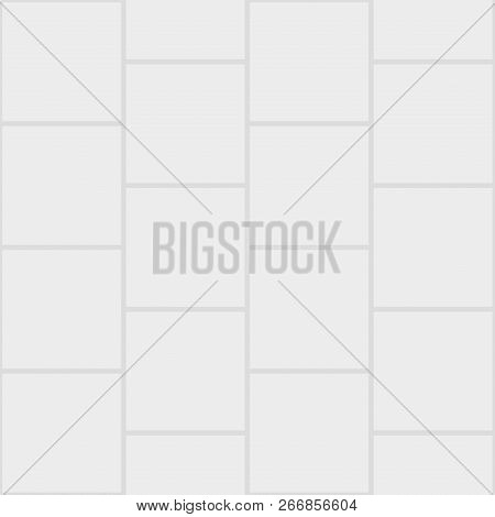 Paver Brick Floor Seamless Pattern Element, Gray.
