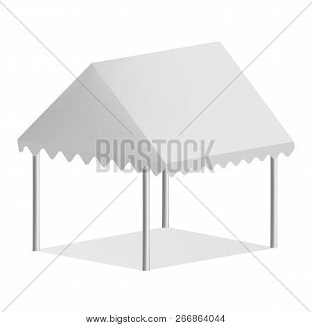 Outdoor Commercial Tent Mockup. Realistic Illustration Of Outdoor Commercial Tent Mockup For Web Des