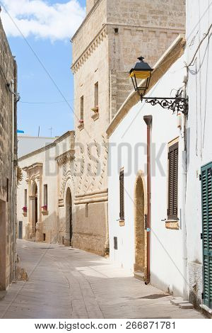 Presicce, Apulia, Italy - Walking Through An Old Alleyway In Presicce