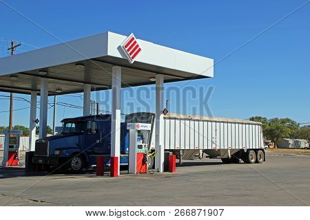Fort Stockton, Texas - October 06: Semi Truck Fuel Up At Gas Station Truck Stop In Texas 2013