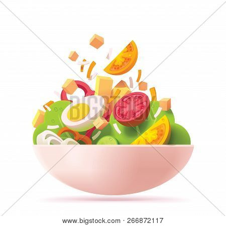 Vector Green Salad Icon. Includes Red And Orange Tomato, Lettuce, Cheese, Egg, Red Bell Pepper, Crou