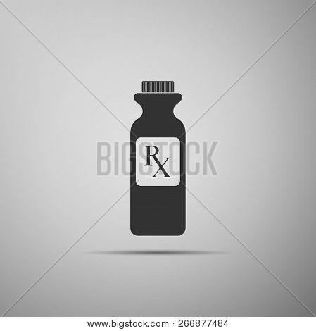 Pill Bottle With Rx Sign And Pills Icon Isolated On Grey Background. Pharmacy Design. Rx As A Prescr
