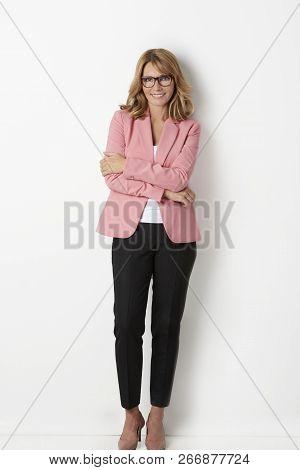 Confidence And Beautiful Woman Studio Portrait