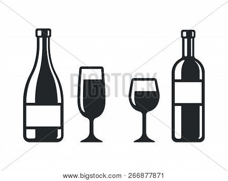 Wine Bottle And Glass Icons. Champagne Bottle And Flute, And Classic Red Wine. Simple And Stylish Bl