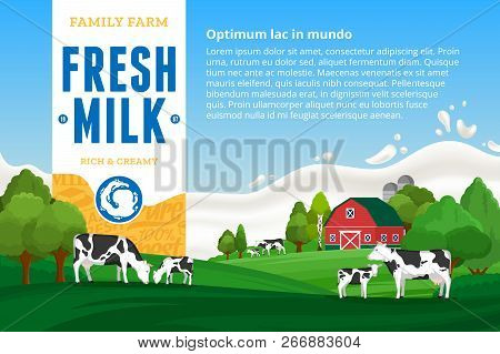 Milk Illustration. Rural Landscape. Cows And Calves