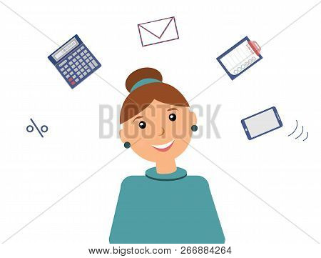 Very Busy Kind Beautiful Smiling Woman Accountant With Many Thoughts About Work. There Is A Calculat