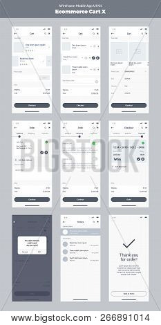 Wireframe Kit For Mobile Phone. Mobile Application Ui, Ux Design. New Ecommerce: Store, Cart, Order,