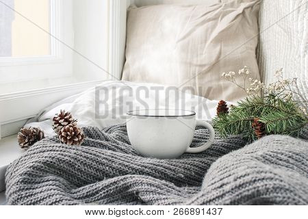 Cozy Winter Morning Breakfast In Bed Still Life Scene. Steaming Cup Of Hot Coffee, Tea Standing Near