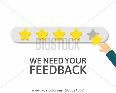 Star Rating. Businessman Holding A Gold Star In Hand, To Give Five. Feedback Concept. Happy Customer