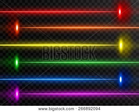 Laser Beam Set. Colorful Rainbow Laser Beam Collection Isolated On Transparent Background. Neon Line