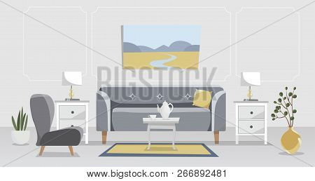 Living Room Elegant Interior In Grey And Yellow. Sofa With Table, Nightstand, Paintings, Lamps, Vase