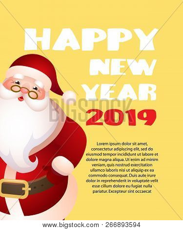 Happy New Year With Cartoon Santa Claus Yellow Banner Design. Inscription With Cartoon Character Of