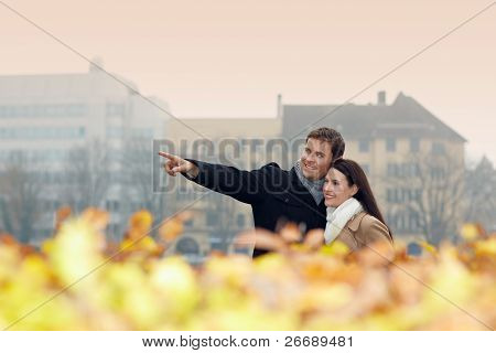 Couple Doing City Trip In Fall
