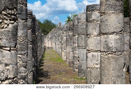Mexico, Yucatan - February 17, 2018:  Chichen Itzá, Yucatán. Ruins Of The Warriors Temple. Originall
