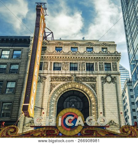 Chicago, Il - Oct 8: Chicago Theatre And Street View On October 8, 2018 In Chicago, Illinois. The Ic