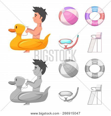 Vector Illustration Of Pool And Swimming Sign. Collection Of Pool And Activity Vector Icon For Stock